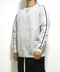 Sleeve Line Knit Sweater/スリーブラインニットセーター-WHITE GRAY-