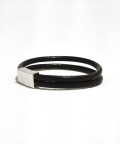 W Loop Leather Bracelet/ダブルループレザーブレスレット/BROWN