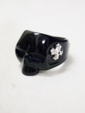 【INNER DAGGER】 RESIN SKULL RINGーBLACK
