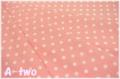 YUWA ドット サーモンピンク×生成り 816819-21 (約110cm幅×50cm)