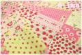 ストロベリーパッチ ピンク×ライトグリーン (約110cm幅×50cm)