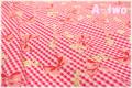 チェック&リボン ピンク×レッド (約110cm幅×50cm)