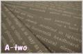 薄手綿麻 文字 グレー CF603-A (約110cm幅×50cm)