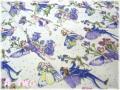 FLOWER FAIRIES PERI DM3927 生成り×パープル (約110cm幅×50cm)