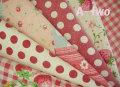 YUWA綿麻スラブミニカット6枚セット レッド(一枚の大きさ約25×26cm)