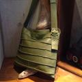 革の帯をグルグルと巻いて作ったレンガのような表情のハンドメイドA4サイズ斜め掛けバッグ ブリックシリーズ1ロング