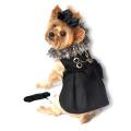 Black Wool and Silver Fur Collar Harness Coat ブラック ウール シルバー ファー カラー ハーネス コート
