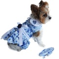 Doggie Design(ドギーデザイン)ドッグウェア Blue Rose Harness Dress ブルー ローズ ハーネス ドレス