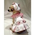 Little Ginger Silky White Dog Harness Dress リトル ジンジャー シルキー ホワイト ハーネス ドレス セット