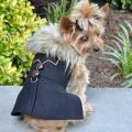 Doggie Design(ドギーデザイン)Wool Fur Trimmed Dog Harness Coat Chevron