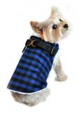 Doggie Design(ドギーデザイン)Blue and Black Check Step In Wrap Coat ブルー ブラック チェック ラップ コート