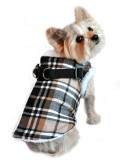 Doggie Design(ドギーデザイン)Brown Plaid Step In Wrap Coat ブラウン プレイド ラップ コート