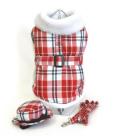 Doggie Design(ドギーデザイン)Red & White Fleece Lined Plaid Coat ピンク ホワイト フリース コート セット