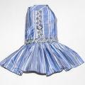 犬服【Emma Rose Design】(エマローズデザイン)Party Girl Blue and SilverTafeta Dog Dress ブルー×シルバードレス