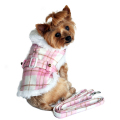 【送料無料】Doggie Design(ドギーデザイン)ドッグウェア Pink and White Plaid Dog Coat with Leash ピンク ホワイト プレイド コート