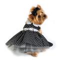 Doggie Design(ドギーデザイン)Black and White Polka Dot Dog Dress ブラック ホワイト ポルカドット ドレス