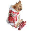 【送料無料】Doggie Design(ドギーデザイン)ドッグウェア Red Plaid Dog Coat with Leash レッド プレイド コート
