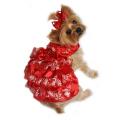 Doggie Design(ドギーデザイン)Red Satin and Red, White and Gold Organza Dress レッドサテン ホワイト ゴールド オーガンザ ドレス