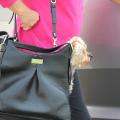 Sadie Mia Michele Black Faux Pebble Leather Carry Bag サディ ブラック フェイク ペブル レザー キャリーバッグ