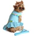 Doggie Design(ドギーデザイン)Turquoise Gingham Flower Designer Dog Dress ターコイズ ギンガム フラワー デザイナー ドレス