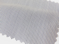 ホワイト(白)/ストライプ系/1mm間隔のペンシルストライプ/-コットン50%/ポリエステル50% - シャツ生地 - 国内縫製