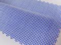 ホワイト(白)/青のグラフチェック/-コットン50%/ポリエステル50% - シャツ生地 - 国内縫製