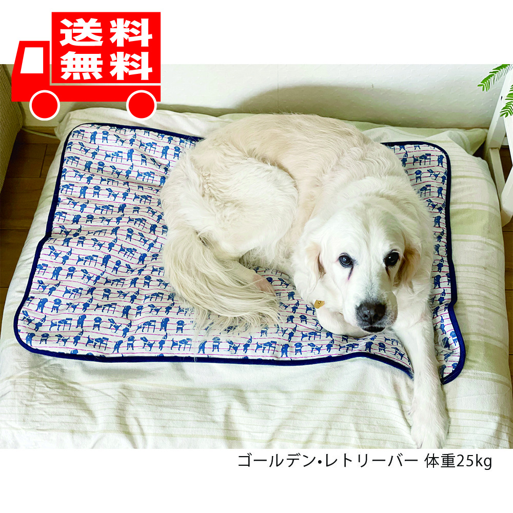 【送料無料!】盲導犬チャリティーひんやりブランケット ネイビーLサイズ