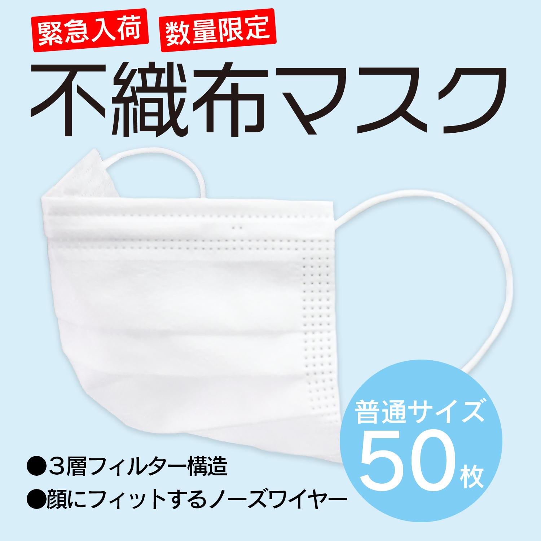 【数量限定】不織布マスク 普通サイズ 50枚入