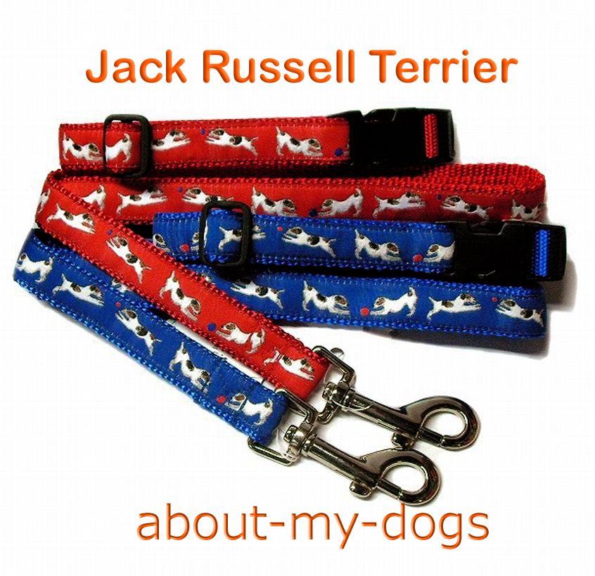 アメリカ製犬種柄リードカラーセット「ジャックラッセルテリア」レッド&ブルー