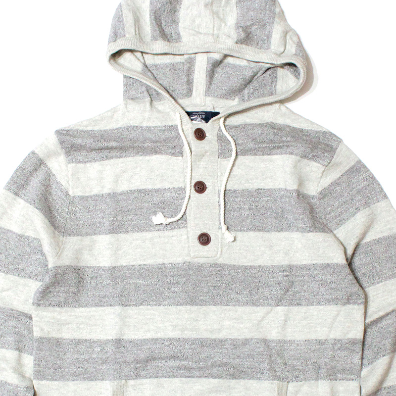 ジェイクルー J.crew:Striped Textured Cotton Hoodie/太ボーダーパーカ