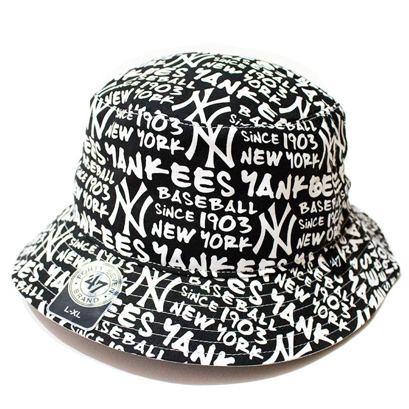 47 Brand:Yankees '47 Fat Cap Bucket White