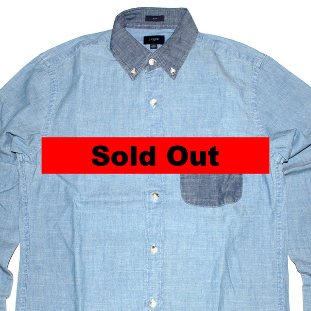 ジェイクルー J.crew:Slim One Pocket Chambray Shirt/スリムワンポケットシャンブレーシャツ