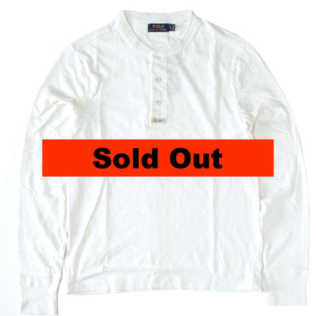 """【Polo Ralph Lauren/ポロ ラルフローレン】 """"Indigo-Dyed Cotton Henley/ヘンリーネックロングTシャツCRM"""""""