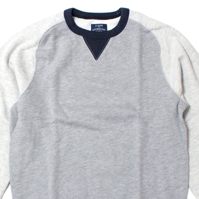 ジェイクルー J.crew:Colorblock Sweatshirt/V字ガゼットスウェット Gray