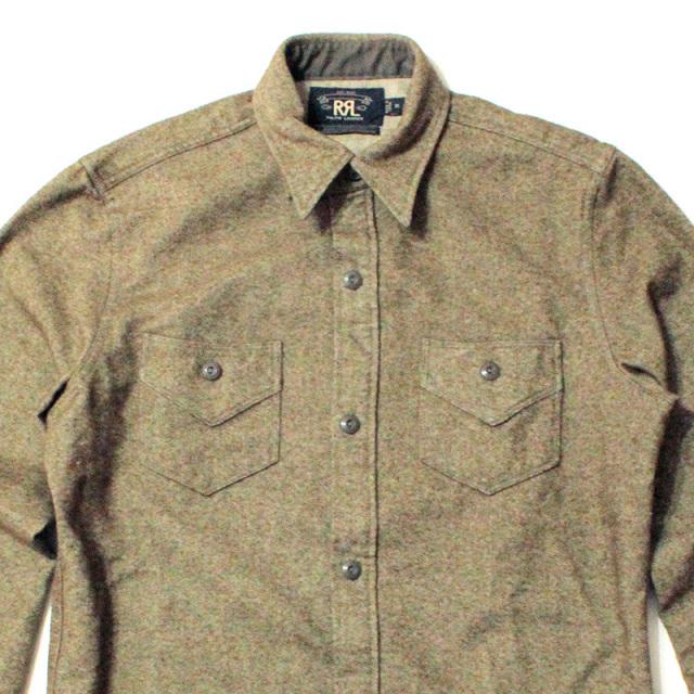 "【RRL/ダブルアールエル】 ""Wool Work Shirt Olive/ウールワークシャツ オリーブ"""