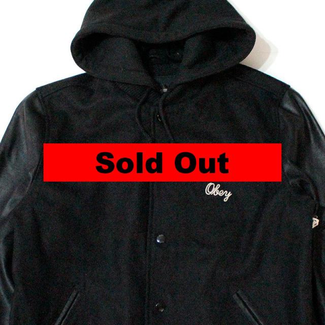 """【Obey/オベイ】 """"Soto Hooded Varsity Jacket/フーデットバーシティージャケット"""""""
