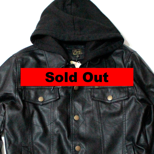 "【Obey/オベイ】 ""Backstage Hooded Faux Leather Jacket/フーデットジャケット"""