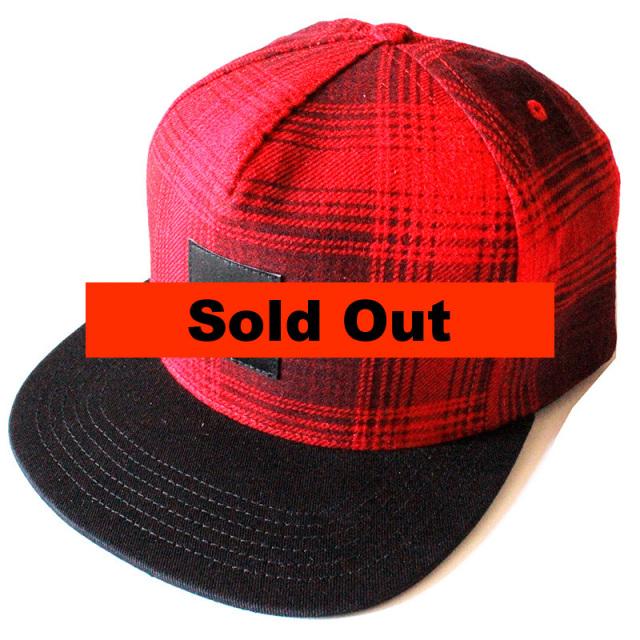 ハフ HUF:Freeman Flannel Snapback Hat Red/フリーマンフランネルスナップバックキャップ