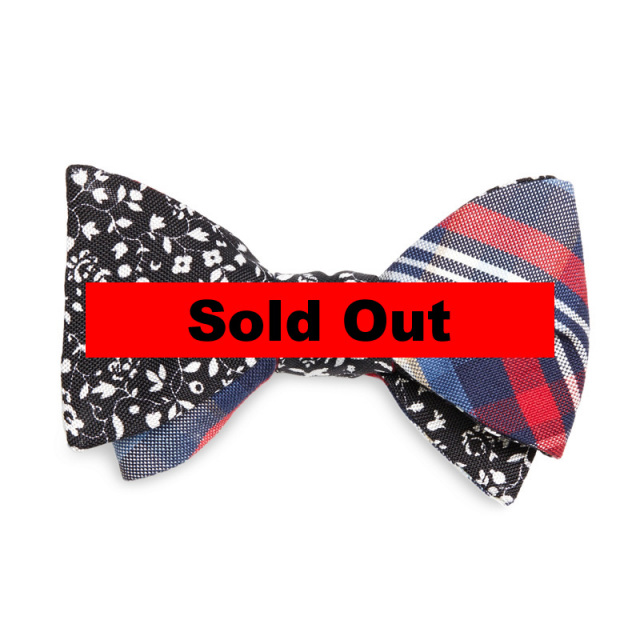"【Brooks Brothers/ブルックスブラザーズ】 ""Flower Print and BB#1 Stripe Plaid Reversible Bow Tie/リバーシブルボウタイ"""