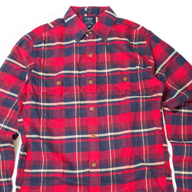 ジェイクルー J.crew:SLIM PLAID FLANNEL WORKSHIRT Red/スリムフレンネルワークシャツ レッド
