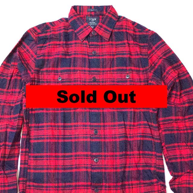 ジェイクルー J.crew:SLIM PLAID FLANNEL WORKSHIRT Navy Red/スリムフレンネルワークシャツ ネイビー×レッド