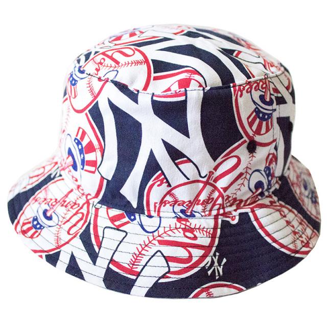 正規取扱店 フォーティーセブンブランド 47 Brand:YANKEES'47 BRABADO BUCKET Navy/ヤンキース 総柄バケットハット ネイビー