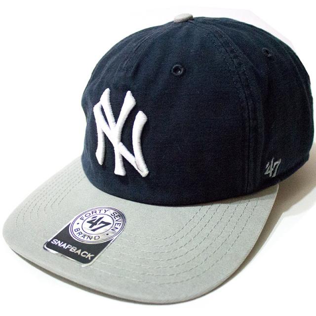 正規取扱店 フォーティーセブンブランド 47 Brand:YANKEES MARVIN'47 CAPTAIN RF Navy×Gray/ヤンキース スナップバックキャップ ネイビー×グレー