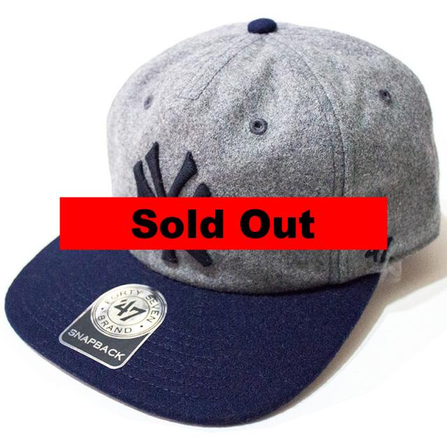 正規取扱店 フォーティーセブンブランド 47 Brand:YANKEES HEMPSTEAD'47 CAPTAIN Gray×Navy/ヤンキース スナップバックキャップ グレー×ネイビー