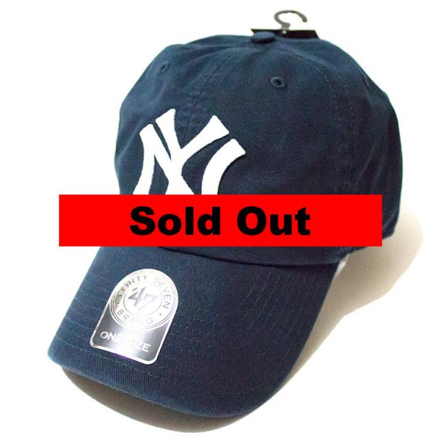 正規取扱店 フォーティーセブンブランド 47 Brand:YANKEES COOPERSTOWN '47 CLEAN UP CAP Navy/ヤンキース クリーンアップキャップ ネイビー