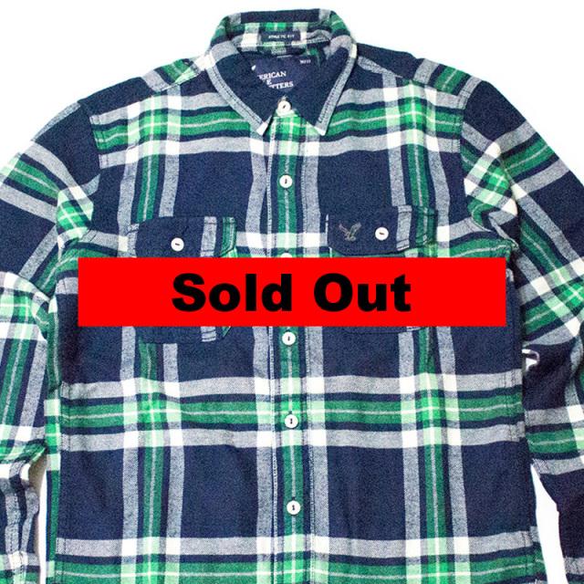 アメリカンイーグル American Eagle Outfitters:PLAID FLANNEL WORKSHIRT/フランネルワークシャツ