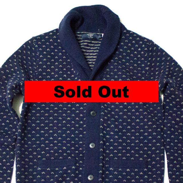 ジェイクルー J.CREW:lambswool nordic dot cardigan sweater/ショールカラーウールカーディガン