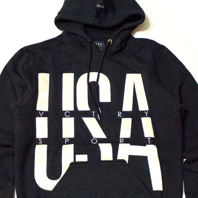 テンディープ 10deep:The USA Sport Hoodie Black/スポーツパーカ