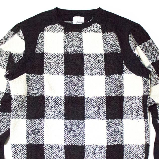 エルウッド Elwood:Plaid Fleece Sweatshirt in Black×White/ブロックチェックスウェット ブラック×ホワイト