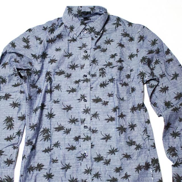 ジェイクルー J.crew:SLIM CHAMBRAY SHIRT PALM TREE PRINT/パームツリー スリムシャンブレーシャツ